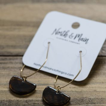 Half Circle on Threaded Wire Earrings, Brown/Gold