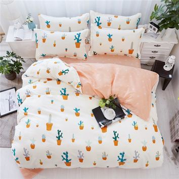 Cartoon Green Cactus Printed Bedding Sets Bedclothes Duvet Cover Linens Pillowcases Bed Sheets Full Queen King Size bedclothes