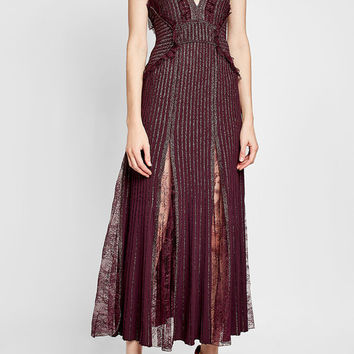 Floor Length Gown with Pleats, Lace and Metallic Thread - Elie Saab | WOMEN | US STYLEBOP.COM