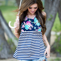 Roll With Me Navy Stripe Floral Tank