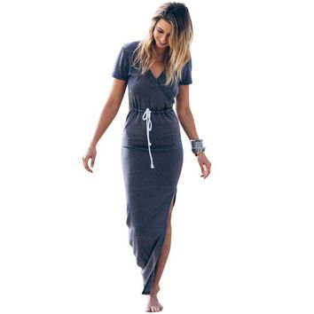 JECKSION Personality Pencil Furcal Dress For Women 2016 Fashion Slender Short Sleeve Long Dress with Sashes Deep V #LYW