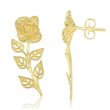 Delicate Wire Mesh Rose Filigree Climbing Earrings in 14k Yellow Gold
