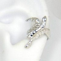 Sterling Silver Turtle Ear Cuff Left Earring