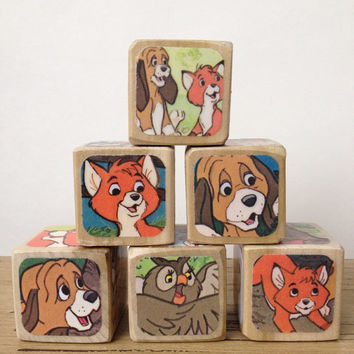 The Fox and The Hound // Nursery Decor // Baby Shower // Childrens Book Blocks // Natural Wood Toy
