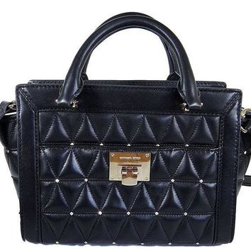 Michael Kors Vivianne Messenger Shoulder Bag Quilted Black