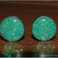Seafoam Glitter Plugs - 2g, 6mm