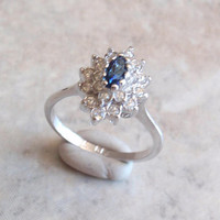 Faux Sapphire Ring Clear Blue Rhinestone 18KT HG Size 8-1/4 Vintage V0438