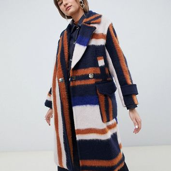 ASOS DESIGN brushed checked coat at asos.com
