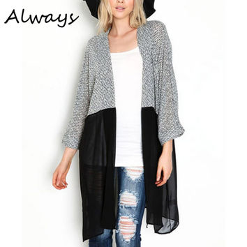 Long Cardigan Women Sweater Chic Lady Winter Knitted Cardigans Tops Plus Size Casual Women Knitted Sweaters