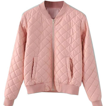 Pink Quilting Leather Look Bomber Jacket