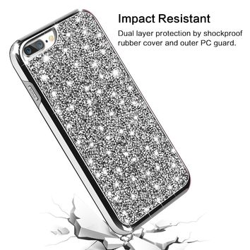 iPhone 8 Plus Case, Vofolen iPhone 8 Plus Case Glitter Bling Crystal Shiny Heavy Duty Protection Dual Layer Hybrid Protective Shell Soft TPU Bumper Armor Hard Cover for iPhone 8 Plus 7 Plus (Silver)