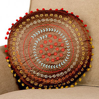 Gold & Chili Pepper Embroidered Round Toss Pillow | Pillows and Throws| Home Decor | World Market