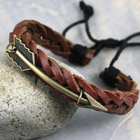 Bracelet-hanger games bracelet,antique bronze arrow real leather bracelet,arrow cuff