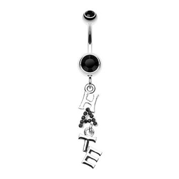 HATE' Dangle Belly Button Ring