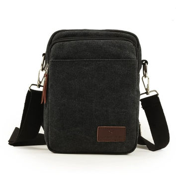 Men Canvas Shoulder Bag Crossbody Bag Chest Pack Satchel Bag