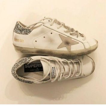 ONETOW Golden Goose Deluxe Brand Glitter / White Super Star Sneakers
