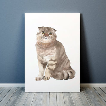 Cute nursery art Scottish fold print Watercolor cat poster ACW51