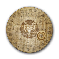 Round Wood Devil Ouija Board and Planchette