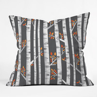 Lucie Rice Birches Be Crazy Throw Pillow