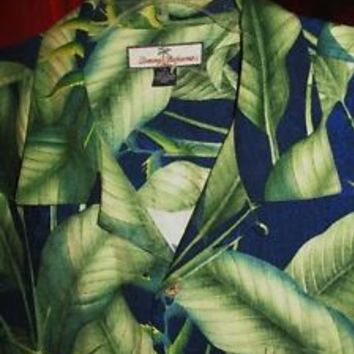 TOMMY BAHAMA HAWAIIAN SHIRT  GREEN LEAVES CAMP CASUAL!SIZE XL!100% SILK !