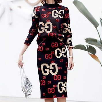 GUCCI Autumn And Winter Fashion New More Letter Knit Long Sleeve Top Sweater And Skirt Two Piece Suit Leisure Black