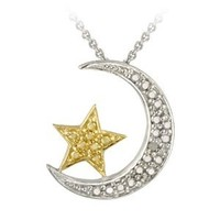 "Amazon.com: 18k Gold Plated and Sterling Silver Diamond-Accented Moon and Star Pendant Necklace 18"": Jewelry"
