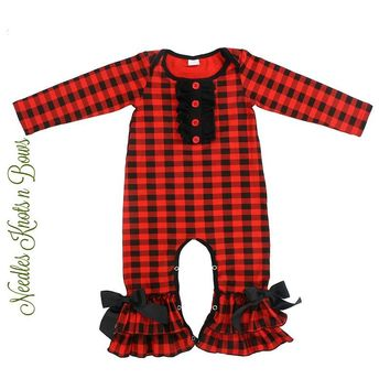 Girls Buffalo Plaid Romper, Baby Girls Long Sleeve Buffalo Plaid Romper, Girls Buffalo Plaid Jumper