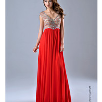 Nina Canacci 8051 Red Sheer Embellished Bodice Gown 2015 Prom Dresses