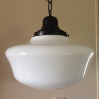 "Antique Large Milk Glass Pendant School House Light 1920s Industrial 16"" Art Deco 1 of 3 Matching Lights"