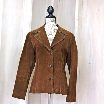 Womans leather jacket  M / L / 90s Wilsons suede coat / Boho Western Cowgirl