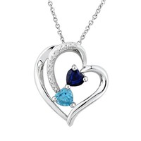 Two Hearts Forever One Lab-Created Blue Sapphire, Genuine Blue Topaz & Diamond Accent Sterling Silver Heart Pendant Necklace