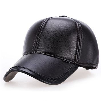 NALS002 New Aged Men Casual Faux Leather Earflap Baseball Caps Casuquette Adjustable PU Windproof Bomber Hats Snapback Blank
