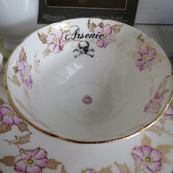 Gothic Arsenic Poison Tea Cup and Saucer Antique Skull and Crossbones altered plate Pink and White