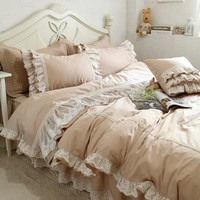 Luxury embroidery wedding bedding set lace ruffle duvet cover elegant bed sheet bedspread romantic bedroom decoration beddings