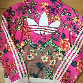 e2be3ea0c15 adidas Originals Zip Front Tracksuit Top In Floral Print