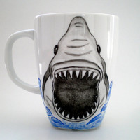 Shark Mug, Hand Paint Jaws  Mug,  humor unisex gift  for him,  dudes , men