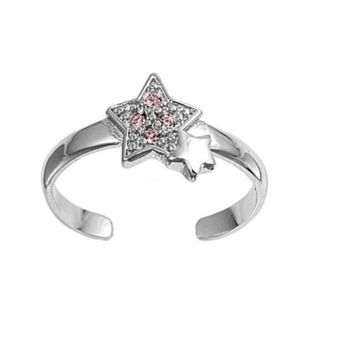 Sterling Silver Star 8MM  Toe Ring/ Knuckle/ Mid-Finger CZ Tourmaline CZ