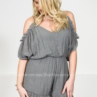 Darling Ruffle Grey Romper