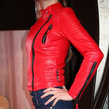 Women faux leather jacket long sleeve PU brand coat red big size XS size XL motorcycle biker jaquetas casacos de couro feminine