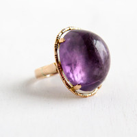 Vintage 14k Rosey Yellow Gold Huge Natural Amethyst Ring - Size 7 Large Natural Gemstone Retro 1960s Statement Fine Jewelry