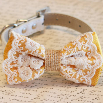 Yellow Dog Bow Tie, Lace Burlap Bow, Rustic, boho, Dog Lovers,Pet wedding accessory, Unique, Chic, Classy