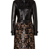 Burberry London - Leather/Haircalf Churchwood Trench Coat in Black/Camel