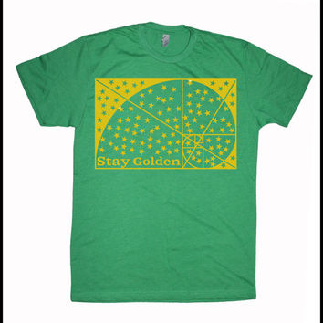 Men's Stay Golden Screen Printed Shirt Golden Ratio Sacred Geometry Red