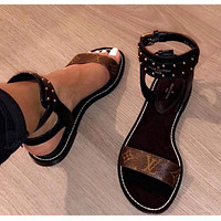 Louis Vuitton LV Women Leather Fashion Sandals Flat Shoes