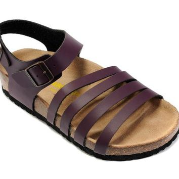 Birkenstock Almeria Sandals Artificial Leather Purple - Ready Stock