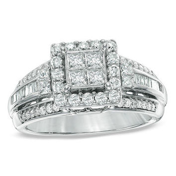 1 CT. T.W. Princess-Cut Quad Diamond Engagement Ring in 10K White Gold - View All Rings - Zales