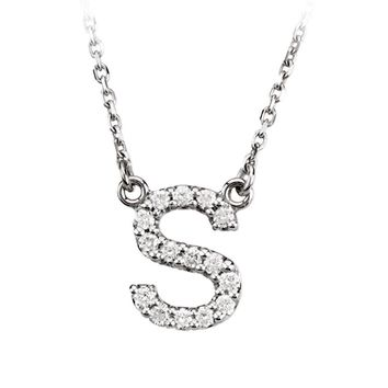 1/6 Cttw Diamond & 14k White Gold Block Initial Necklace, Letter S
