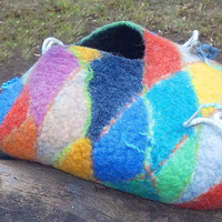 "Cat Cave ""Color of Arlekino,hand crafted,Pet Cat bed,OOAK"