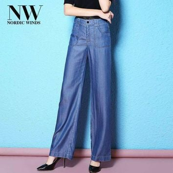 Nordic Winds Jeans Woman Casual Trousers Long Boyfriends Jeans Tencel For Women Clothing Sashes Pants Trendy
