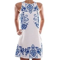 Women's Sleeveless China Porcelain Floral Print Casual Loose Dress